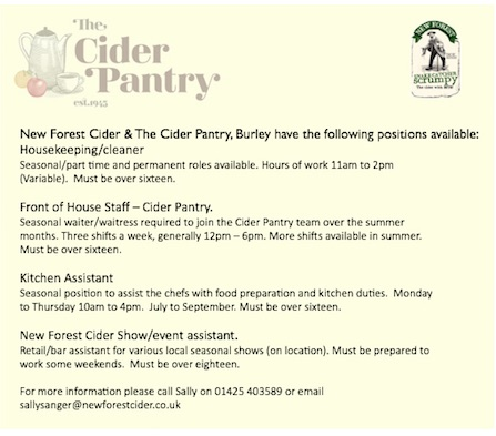 Job Opportunities at New Forest Cider & The Cider Pantry